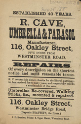 Advert for R Cave, umbrella & parasol manufacturer